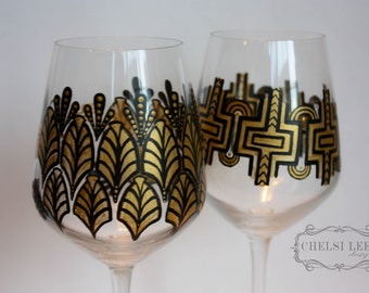 Hand Painted Wine Glass: Set of two - Art Deco 1920's Design