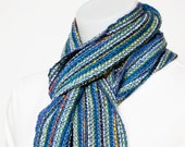 Soft handspun and handwoven blue wool, silk and alpaca scarf