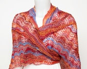 Handspun and knit lace shawl - red, orange, pink and blue
