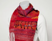 Red handwoven recycled silk and Tencel scarf - Sakiori