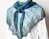 Handspun and knit lace shawl - blue, turquoise and green wool