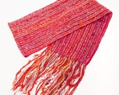 Red handspun and handwoven wool, silk and mohair scarf