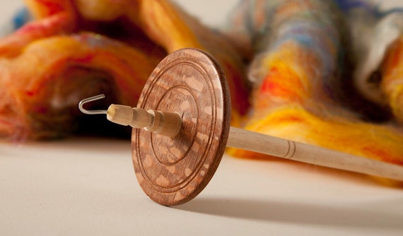 OOAK Hand turned Mahogany and Maple top whorl drop spindle