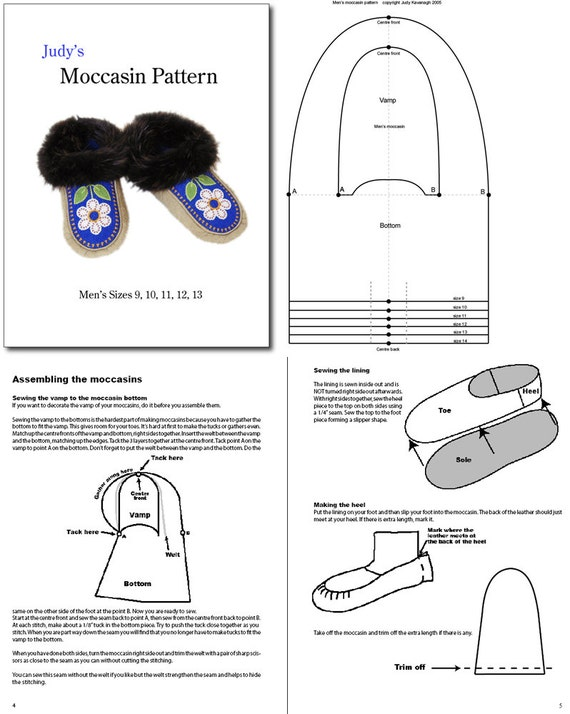 Mens Moccasin Pattern All Sizes Download Etsy