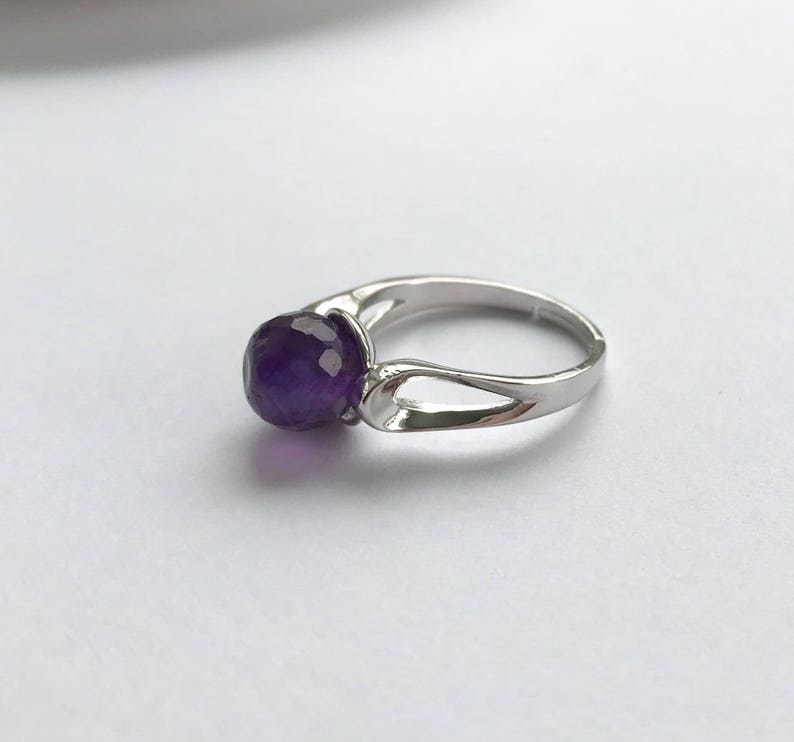 Pantone Color Amethyst Solitaire Purple Amethyst Ring Adjustable Sterling Silver Band Faceted Round 8mm Genuine Stone Statement Ring