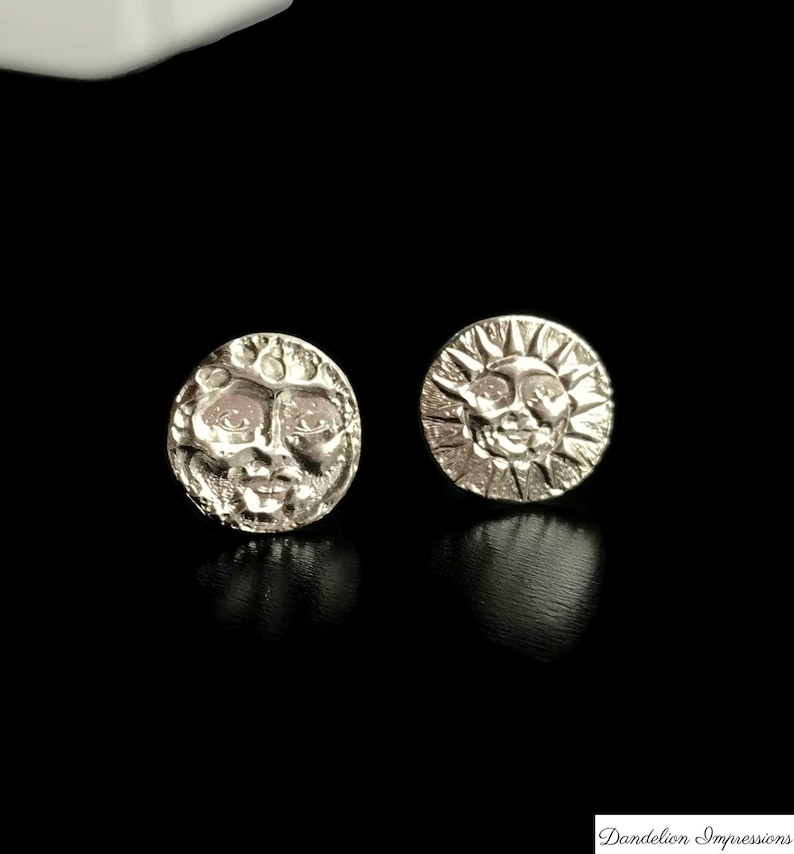 6d3619dcc Silver Moon Sun Stud Earrings Mismatched Celestial Studs | Etsy