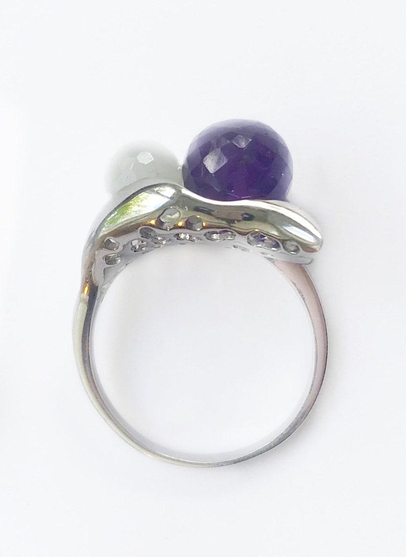 Amethyst Moonstone Labradorite Custom Gemstone Ring Folded Leaf Ring Mothersday Gift Leaf Statement Ring Nature Inspired