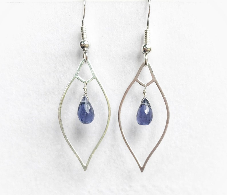 Faceted Tear Drops and Sterling Silver Long Dangling Earrings Silver and Iolite Gemstones Statement Earrings Purple Gemstone Earring