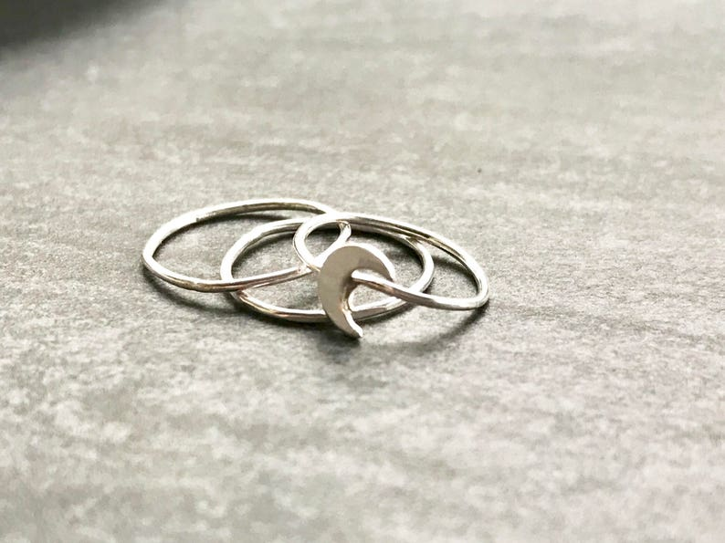 Gift under 75 Gold Initial Ring Gold Heart Stacking Ring Set Stocking Stuffer Gift For Her Gift For Wife Single Gold Ring