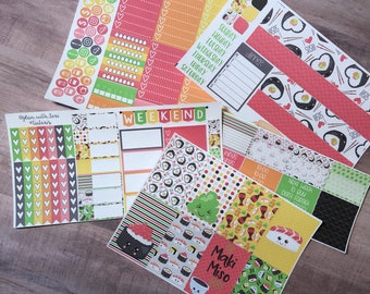 Weekly Layout Kawaii Sushi | sized for Large or Classic HappyPlannerTM