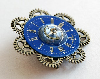 Steampunk jewelry OOAK, Repurposed clock parts, Steampunk brooch, Clockface and cogs