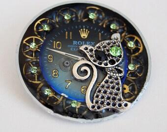 Steampunk jewelry, Cat brooch, Repurposed clock parts, Steampunk brooch