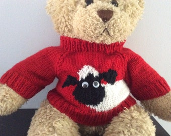 9c7c658e16e Teddy Bear Sweater - Hand knitted - Red Sheep design - fits Build a Bear