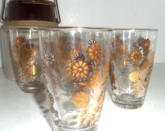 Glasses, 6 Drinking Glasses, Gold Gilded Glasses, Barware, 1950s Glasses, Set of 6 Glasses