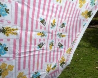 Cotton Tablecloth , Retro Linens, 1950s Tablecloth, Pink Stripes, Floral Linens