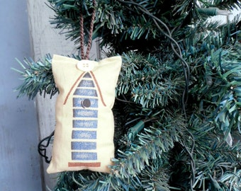 Blue Birdhouse, Reversible Christmas Ornament, Birdhouse Ornament, Homespun Ornament, Stuffed Christmas Ornament