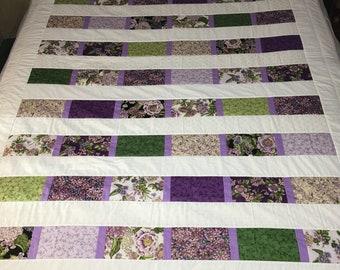 Floral Strip Quilt, Purple Quilt, White Quilt, Full Size Bed Quilt