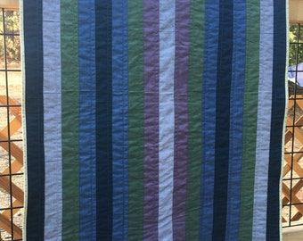 Chambray Strip Quilt, Blue Green Purple Quilt, Lap Quilt, Jelly Roll Quilt, Modern Quilt, Quilted Throw