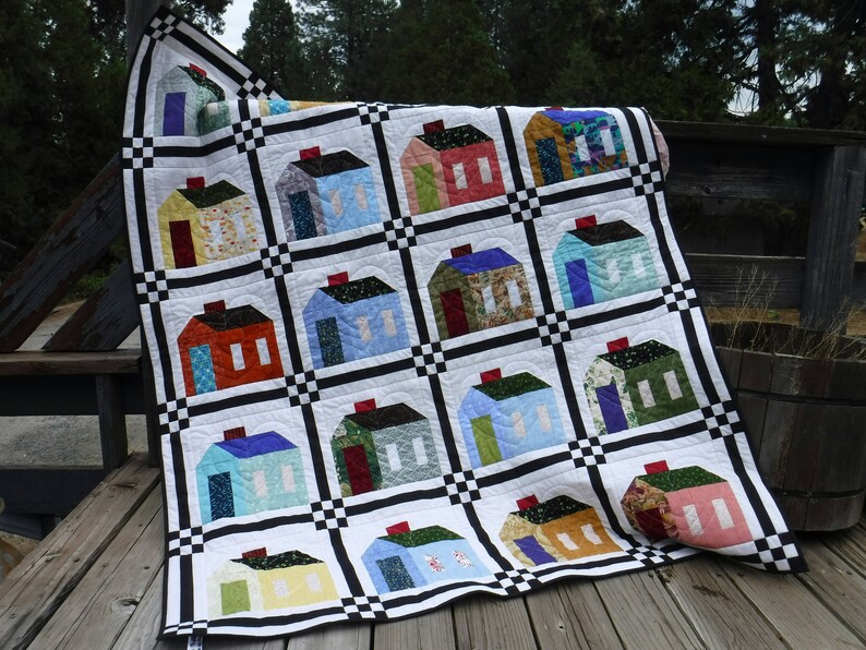 House Quilt Heart and Home Quilt Multi Color House Quilt image 0