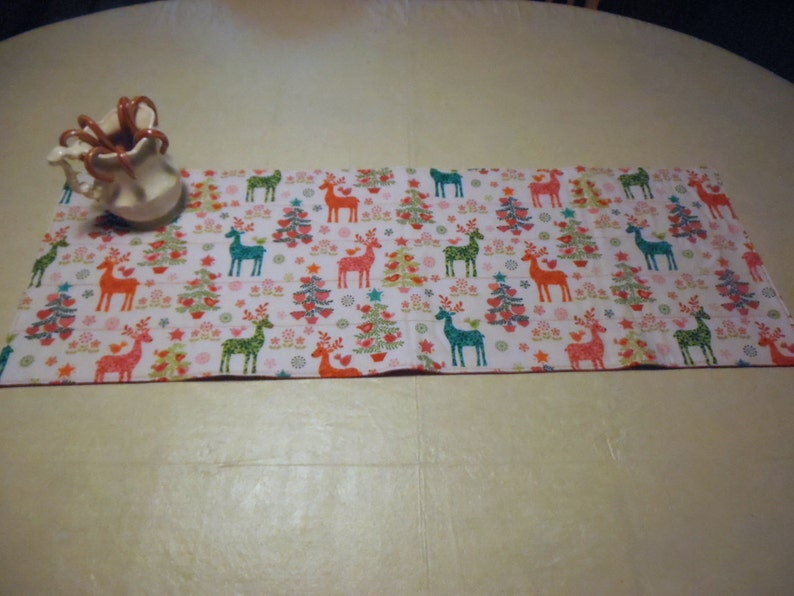 Reindeer Table Runner Christmas Table Runner Quilted Table image 0