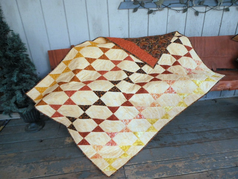 Smoky Mountain Star Quilt Warm Earth Tone Quilt Orange image 0