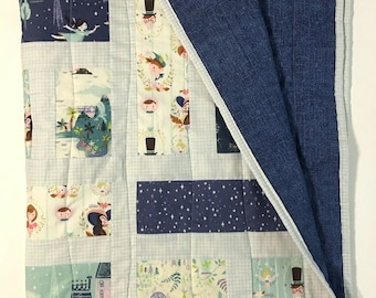 Neverland Quilt, Blue Baby Quilt, Peter Pan Quilt, Child's Quilted Blanket