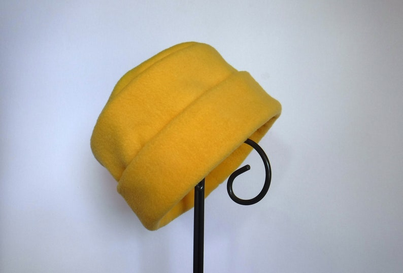 Yellow Fleece Hat Roll Brim Hat Fleece Hat Soft and Warm image 0