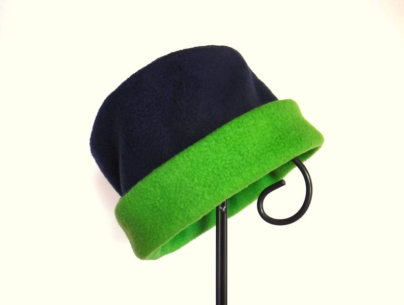 Navy and Green Fleece Hat Roll Brim Hat Fleece Hat Winter image 0