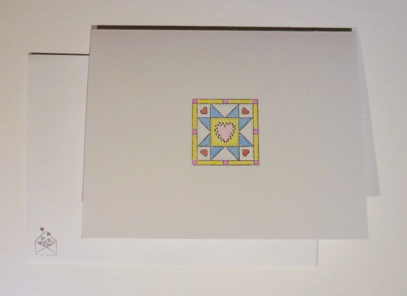 Quilt Cards Set of 4 Hand Colored Cards Quilt Block Greeting image 0