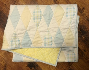 Blue and Yellow Quilt, Baby Boy Quilt, Diamond Quilt, Plaid Quilt, Quilted Baby Blanket