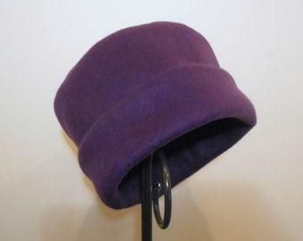 Purple Fleece Hat, Roll Brim Hat, Fleece Hat, Soft and Warm Hat. Winter Hat