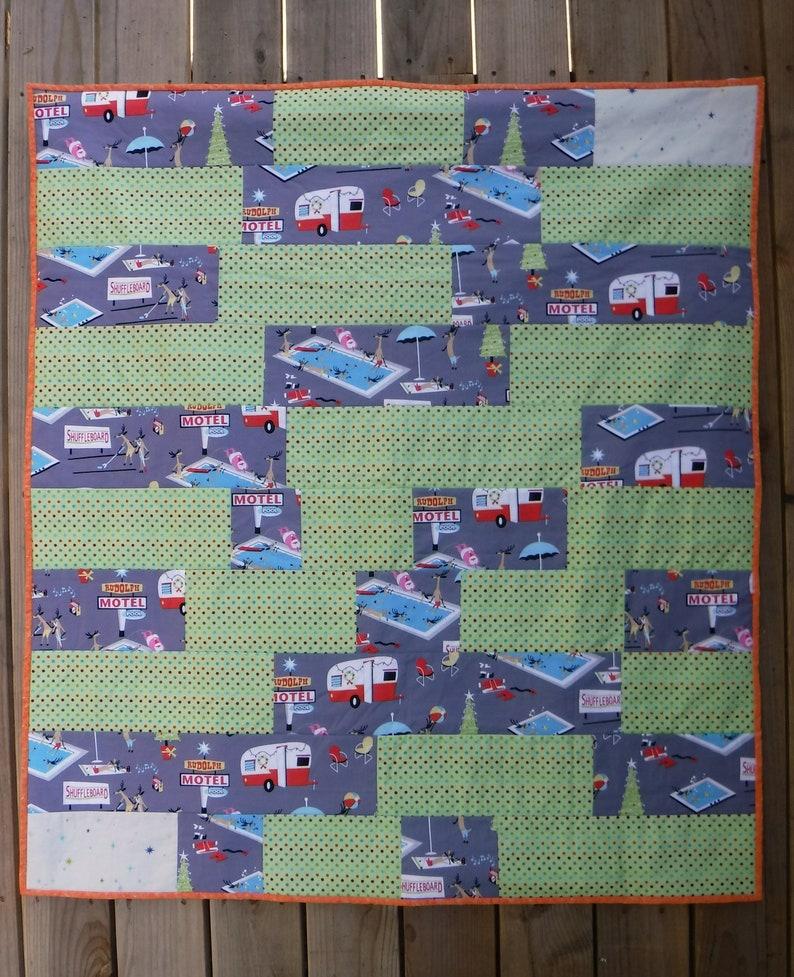 Retro Look Quilt Rudolph Motel Quilt Polka Dot Quilt. image 0