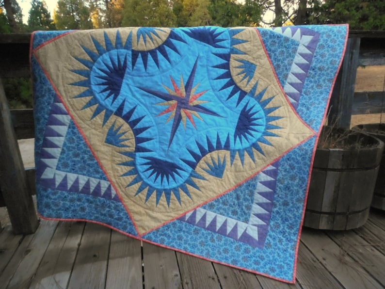 Golden Harvest Quilt Blue and Purple Quilt  Paper Pieced image 0