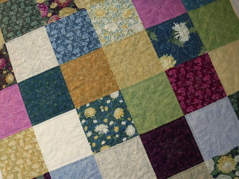 Jewel Tone Quilt Floral Quilt Patchwork Quilt Embroidered image 0