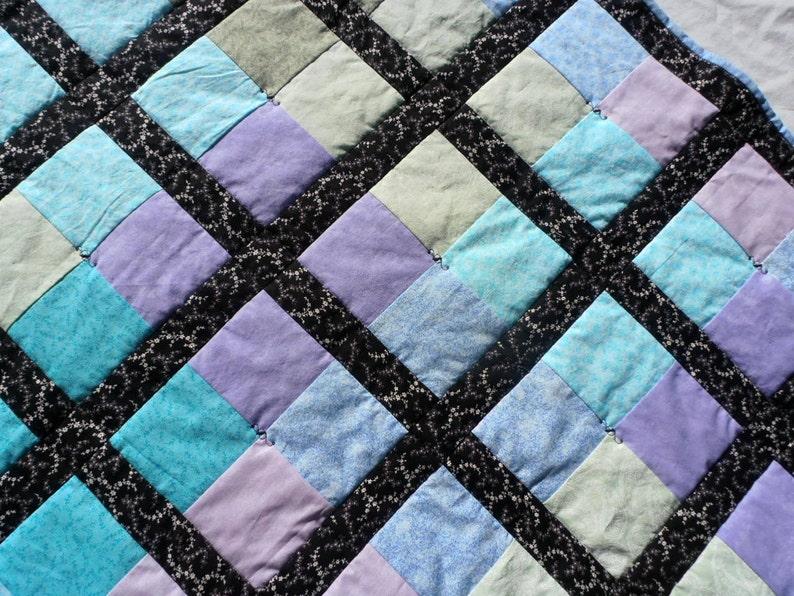 Watercolor Quilt Pastel Quilt Black Quilt Watercolor image 0