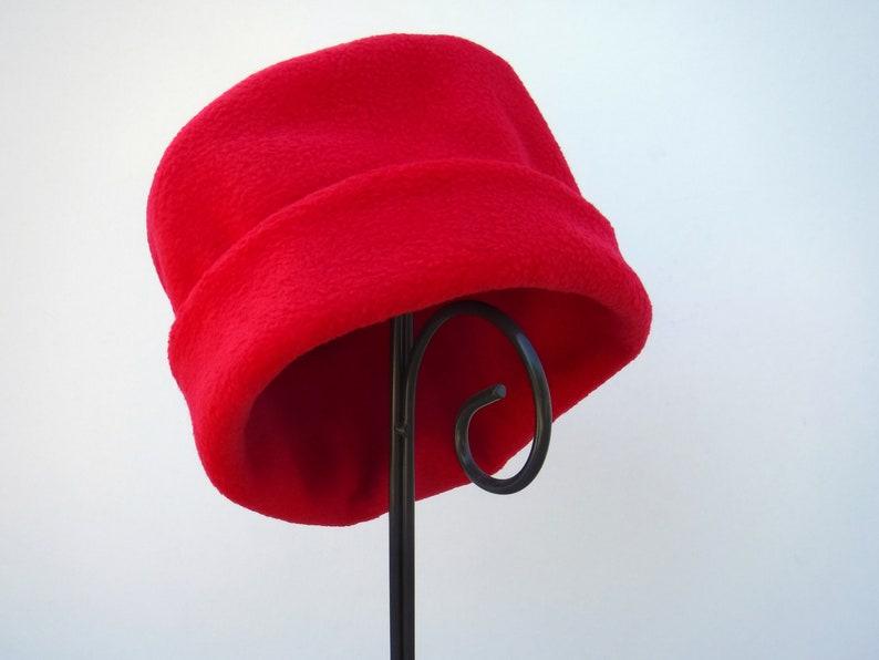 Red Fleece Hat Bright Red Winter Hat Valentine's Day image 0