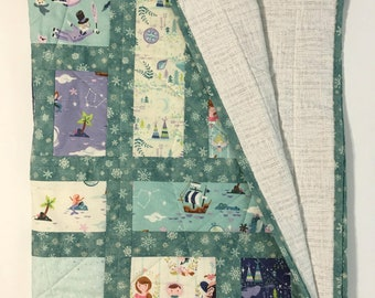 Neverland Quilt, Teal Baby Quilt, Peter Pan Quilt, Child's Quilted Blanket