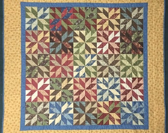 Lemoyne Star Quilt, Star Quilt, Quilted Throw, Red Blue Green Brown Quilt