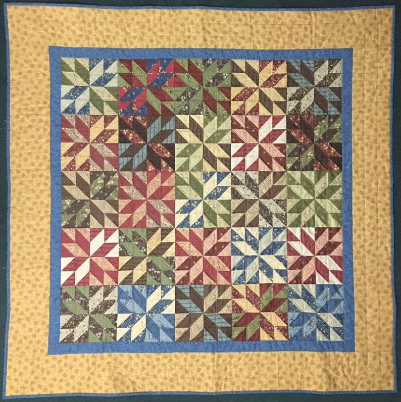 Lemoyne Star Quilt Star Quilt Quilted Throw Red Blue Green image 0