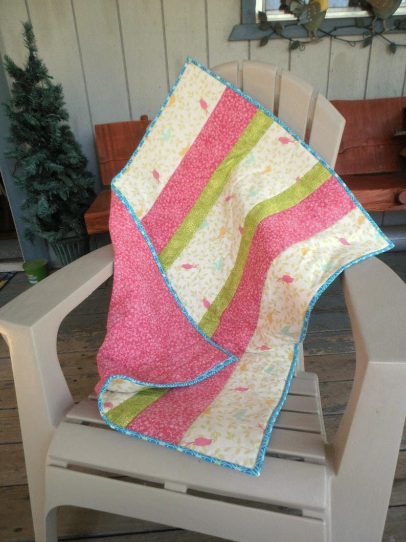 Birdie Quilt Modern Baby Quilt Pink White Green Quilt Baby image 0