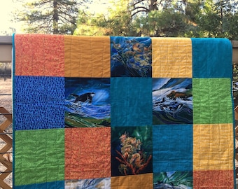 Sea Life Quilt, Whale Quilt, Turtle Quilt, Dolphin Quilt, Bright Colored Quilt