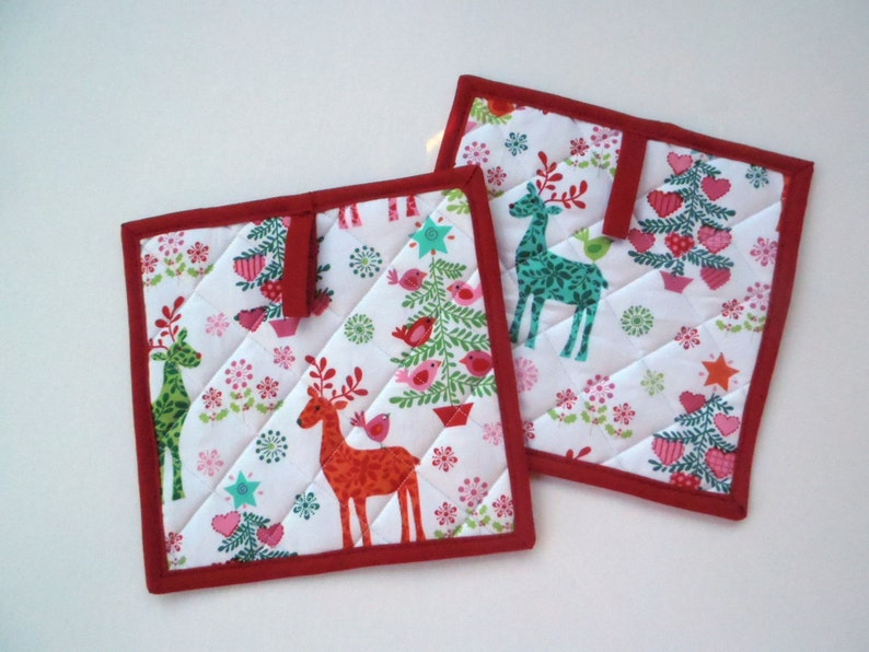 Reindeer Quilted Potholders Quilted Hot Pads Christmas image 0