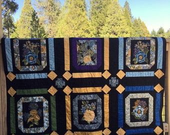 Floral Panel Quilt, Yellow Flower Quilt, Blue Flower Quilt, Blue Gold and Black Quilt