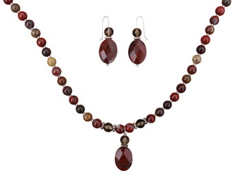 Apple Jasper & Smoky Quartz Necklace and Earrings Set
