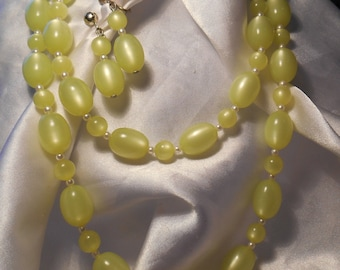 Sarah Coventry Bright Yellow Plastic Beaded Necklace and Dangle Clip Style Bead Earrings