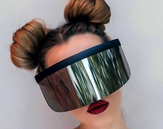 c6db213038954 Mask Shield Mirror Rainbow Sunglasses Robot Futuristic Festival Cyber Visor Music  Festival Color Therapy Deadstock Vintage