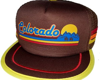 e91f087ca0a Colorado Mountain Sunset Brown 3 Striped Snapback Mesh Trucker Hat Cap