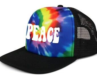 2cbbc69ec7a69 Custom Tie Tye Dye Adult Mesh Trucker Hat Cap Design Snapback Bachelorette  Personalized Rainbow 70 s
