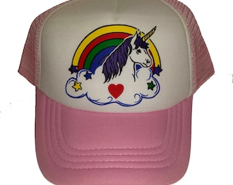 5638e00460498 KID S TODDLER Unicorn Rainbow Snapback Mesh Trucker Hat Cap Pink