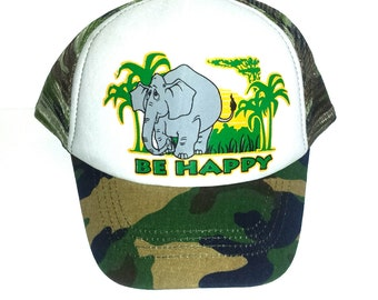 Kid s Youth TODDLER Be Happy Elephant Mesh Trucker Hat Cap Camouflage Camo 83ca41204026